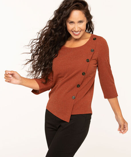 Asymmetrical Scoop Neck Lurex Top, Rust, hi-res