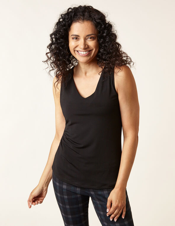 Essential V-Neck Layering Tank, Black, hi-res