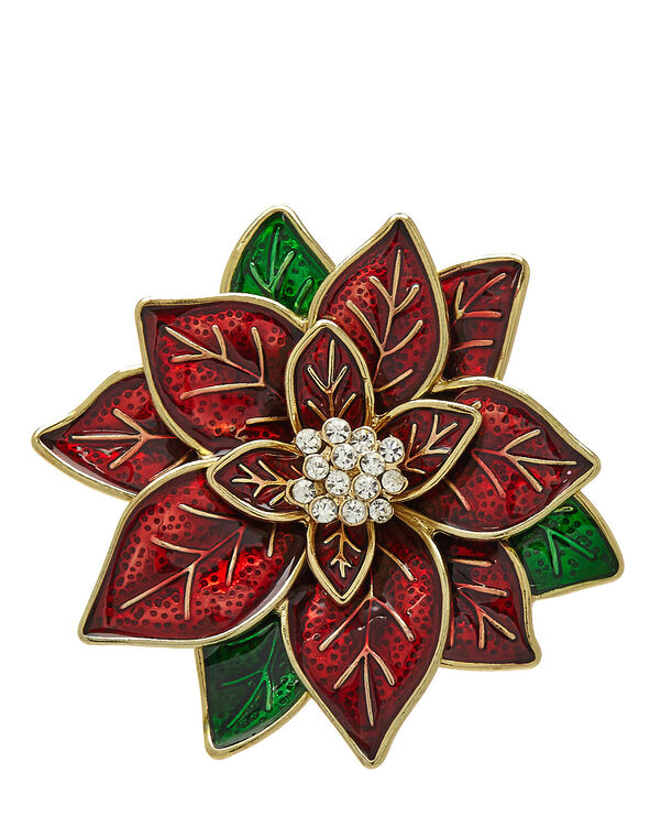 Poinsettia Pin, Red, hi-res