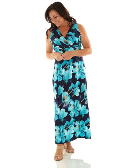 Blue Floral Maxi Dress, Blue, hi-res