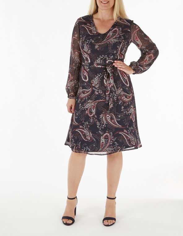 Navy Paisley Chiffon Dress, Navy, hi-res