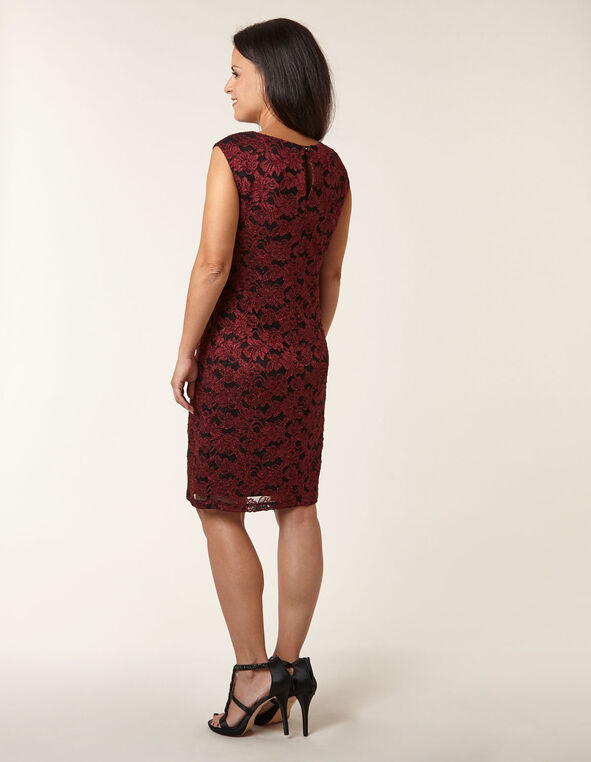 Ruby Floral Lace Sheath Dress, Red, hi-res