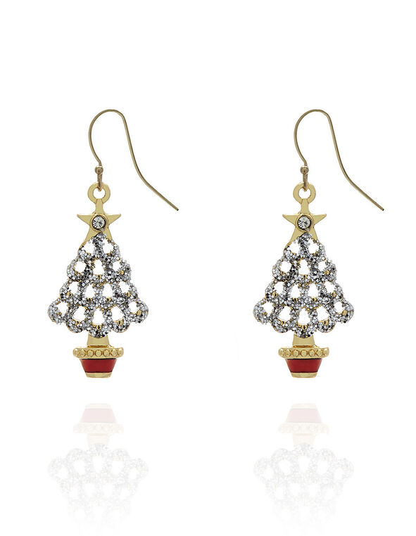 Gold Christmas Tree Drop Earring, Gold, hi-res
