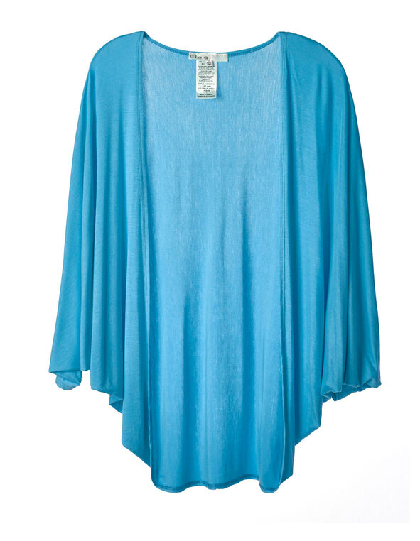 Turquoise Bubble Sleeve Cardigan Top, Turquoise, hi-res