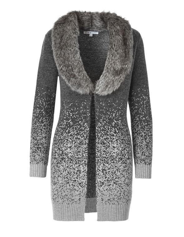 Long Faux Fur Ombre Cardigan, Light Grey Mix, hi-res