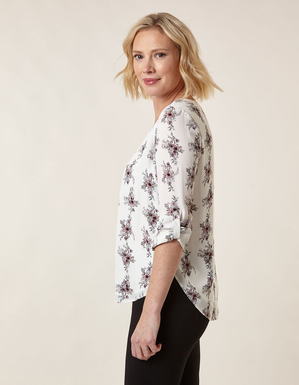 Floral Patterned Blouse, White, hi-res