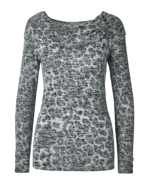 Grey Animal Printed Hacchi Marilyn Top, Grey, hi-res