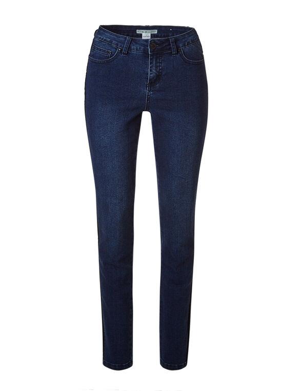 Dark Wash Velvet Slim Leg Jean, Dark Wash, hi-res