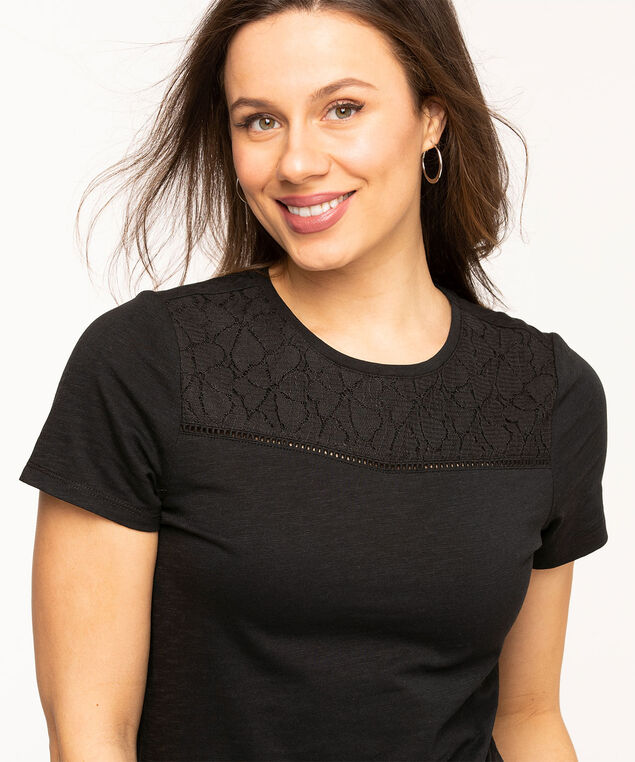 Lace Insert Cotton Tee, Black