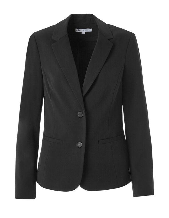 Black Structured Blazer, Black, hi-res
