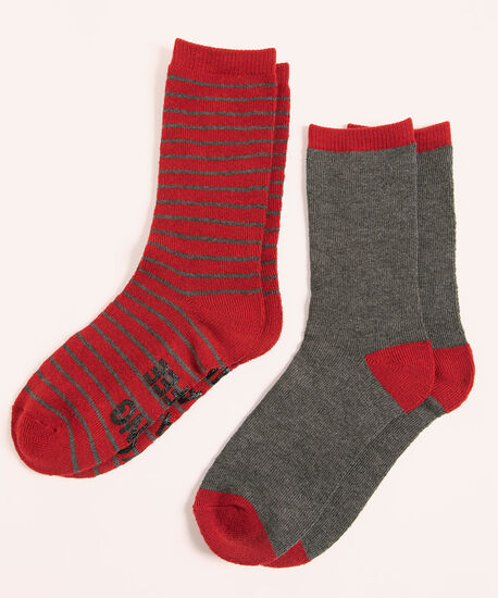 Super Soft Coffee Sock 2-Pack, Red/Grey Stripe, hi-res