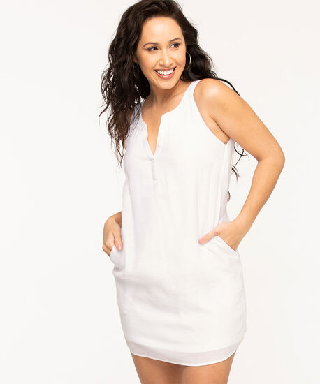 White Sleeveless A-Line Dress, White, hi-res