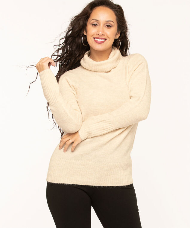 Ribbed Turtleneck Sweater, Almond