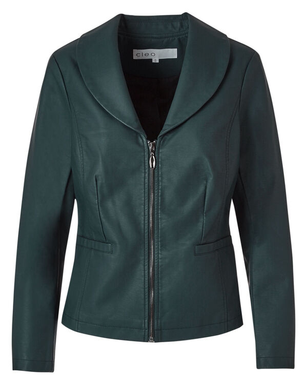 Shawl Collar Faux Leather Jacket, Peacock, hi-res
