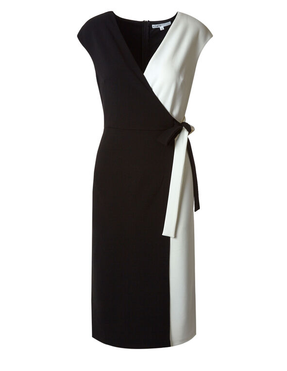 Black & White Wrap Midi Dress, Black/White, hi-res