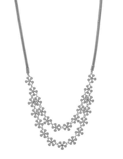 Short Sliver Floral Statement Necklace, Silver, hi-res