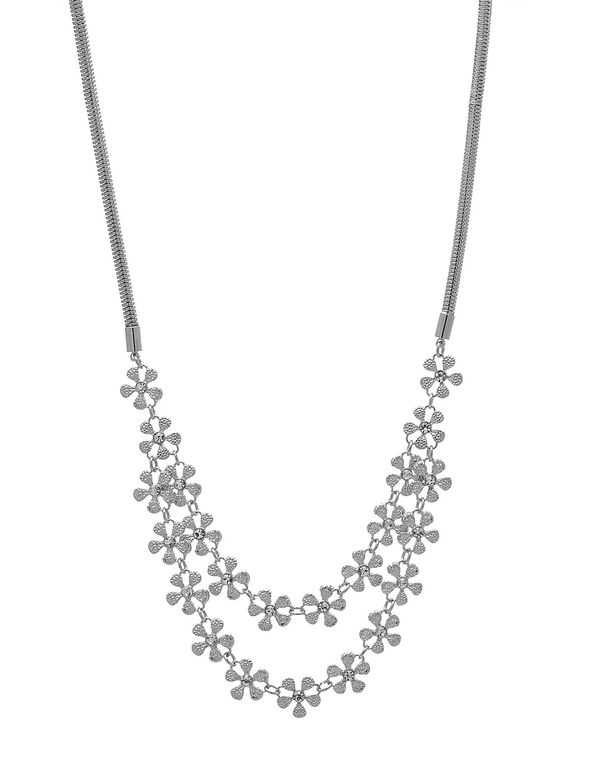 Short Sliver Floral Statement Necklace, Silver, hi-res