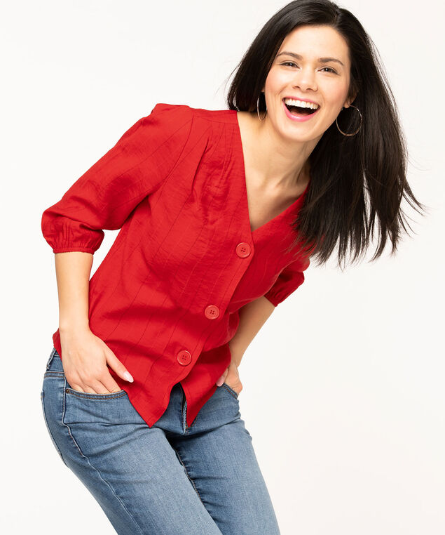 V-Neck Button Front Blouse, Red Stripe