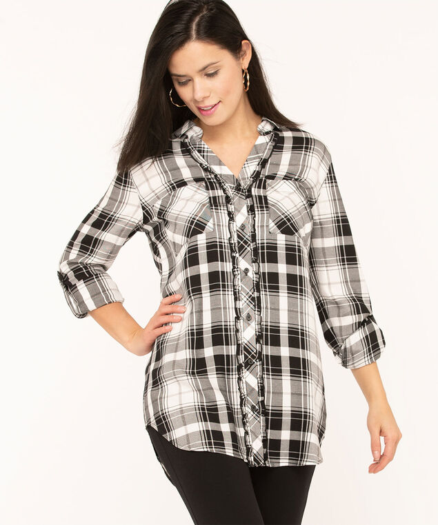 Plaid Ruffled Front Tunic Blouse, Black/Ivory/Light Grey, hi-res