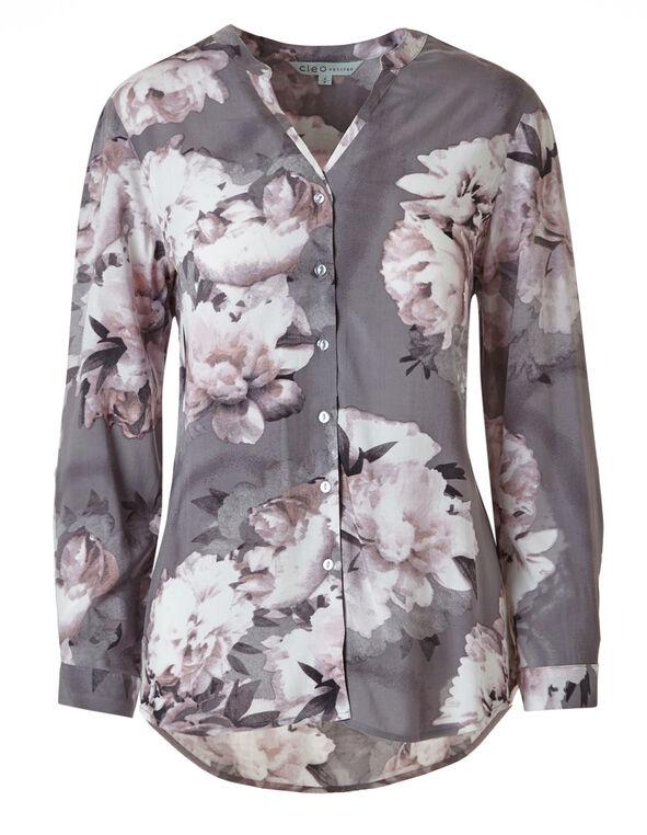 Grey Floral Printed Blouse, Grey/Pink, hi-res