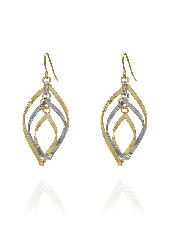 Gold Twist Earring, Gold/Silver, hi-res