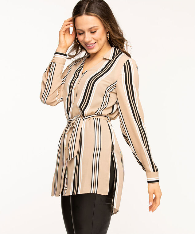 Collared Tie Waist Tunic Blouse, Sand/Black Stripe