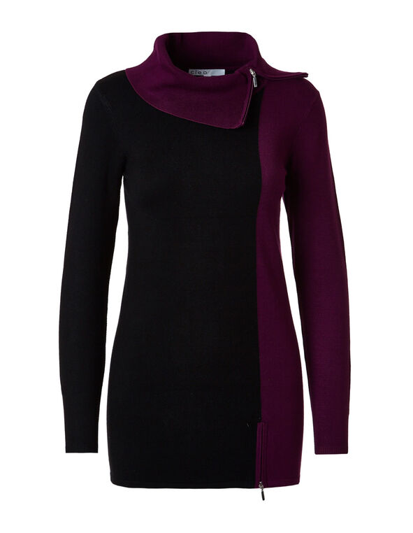 Sangria Colour Block Zip Tunic Sweater, Black/Sangria, hi-res