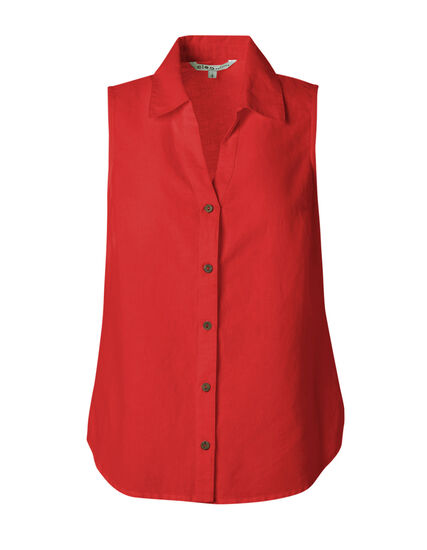 Red Cotton Linen Blend Blouse, Red, hi-res