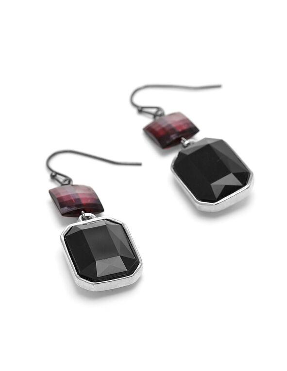 Black Crystal Earring, Black, hi-res