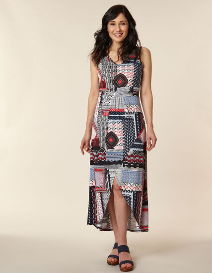 Muti-Print Ruched Maxi Dress, Blue/Mango, hi-res