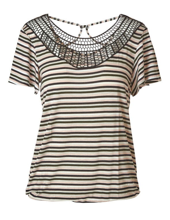 Stripe Crochet Neck Top, Ivory, hi-res
