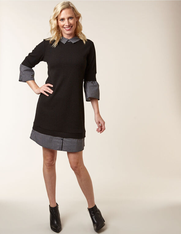 Black Sweater Fooler Dress, Black, hi-res