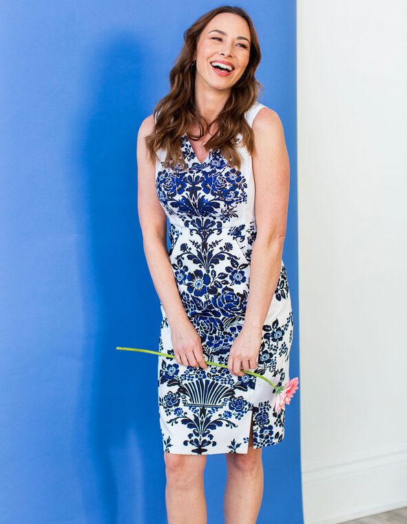 Navy Floral Sheath Dress, Navy/White, hi-res