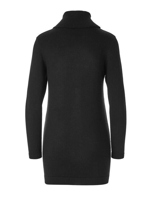 Black Open Tunic Sweater, Black, hi-res