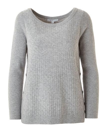 Grey Embossed Knit Sweater, Grey, hi-res