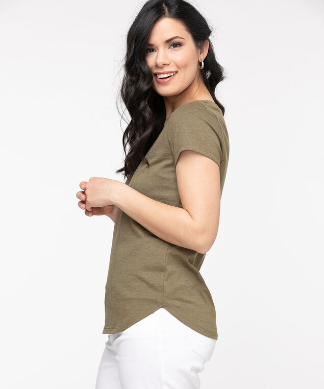 Organic Cotton Square Neck Tee, Olive/White Feather