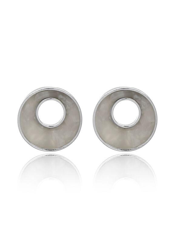 Pearl Resin Circular Earring, White/Silver, hi-res