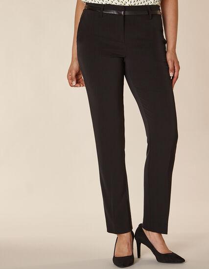Black Leather Trim Slim Pant, Black, hi-res