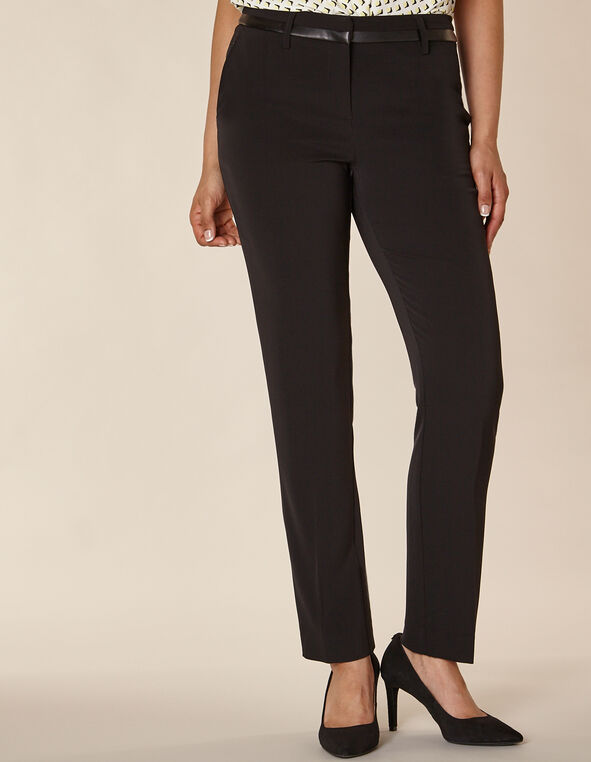 Black Leather Trim Slim Pant, Black, hi-res