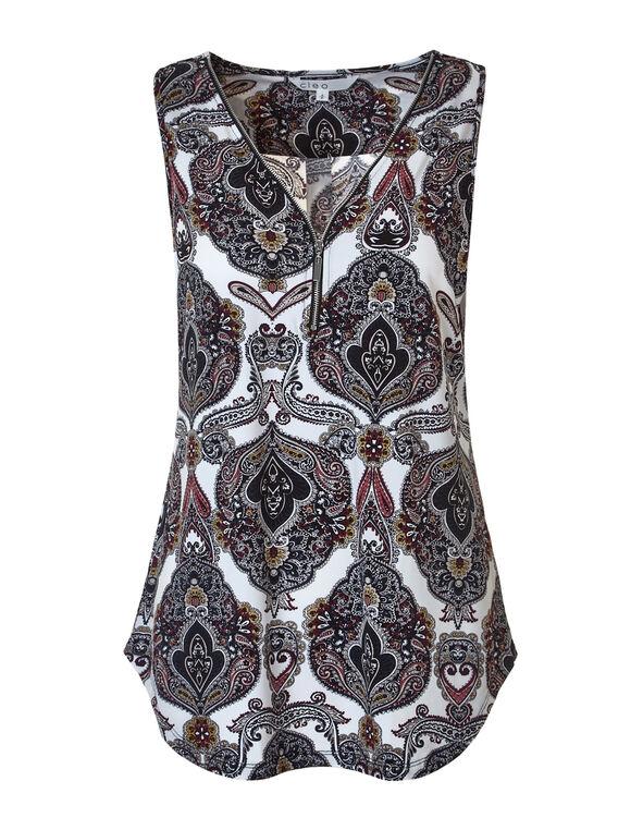 Paisley Zipper Front Top, White/Claret/Turquoise/Saffron, hi-res