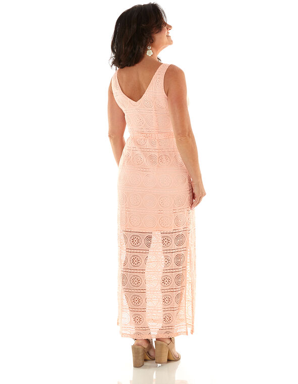 Peach Lace Maxi Dress, Peach, hi-res