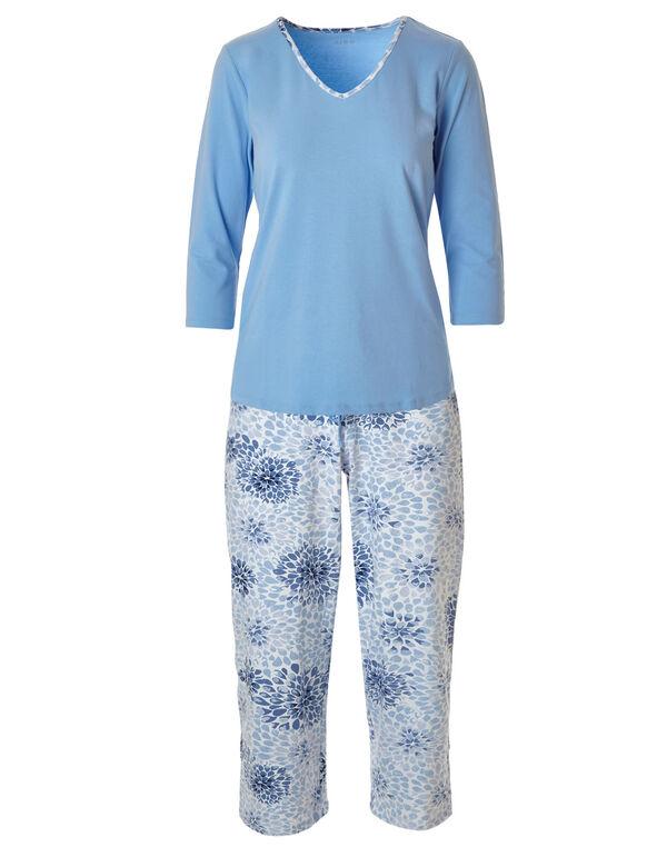 Blue Leaf Print Cotton Pyjama Set, Blue, hi-res