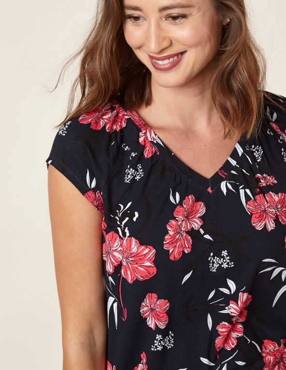 Floral Banded Top, Navy, hi-res
