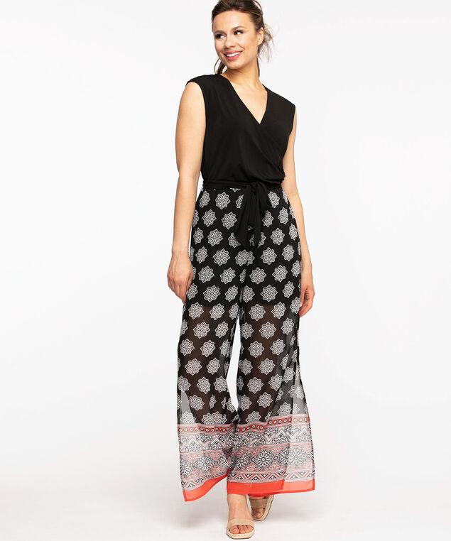 Black Sleeveless Printed Jumpsuit, Black