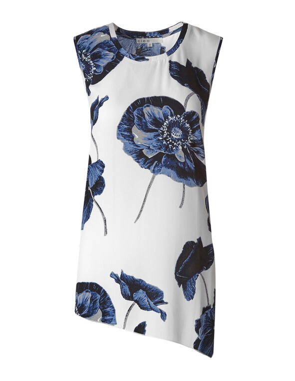 White Placement Printed Blouse, White/Navy, hi-res