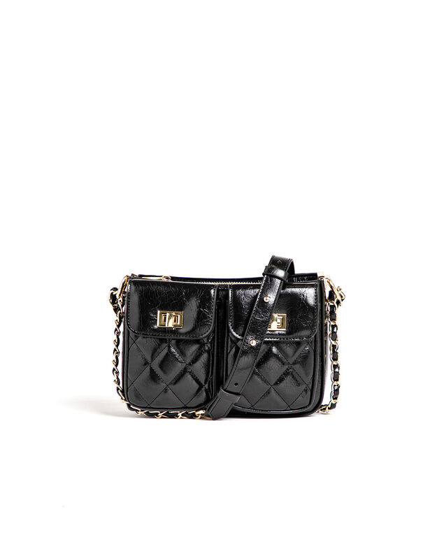 Small Quilted Chain Strap Bag, Black/Gold Metal