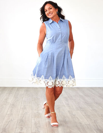 Chambray Cotton Fit & Flare Dress, Chambray, hi-res