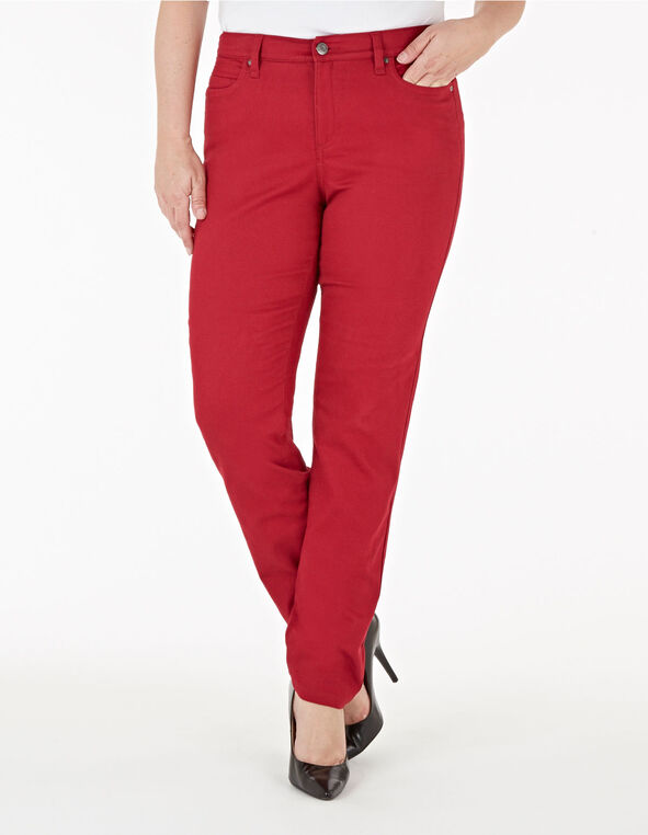 Red Slim Leg Jean, Red, hi-res
