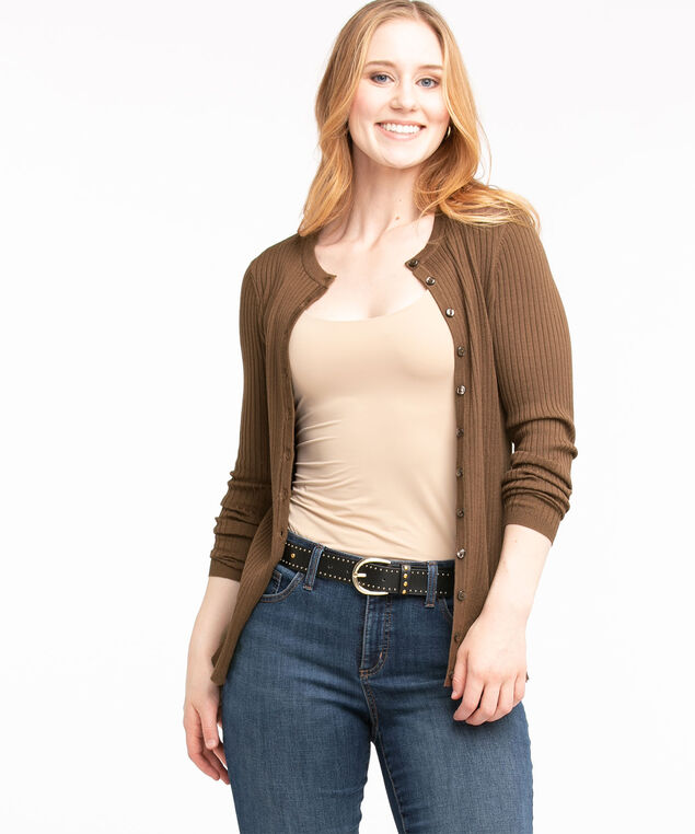 Ribbed Button Front Cardigan, Walnut