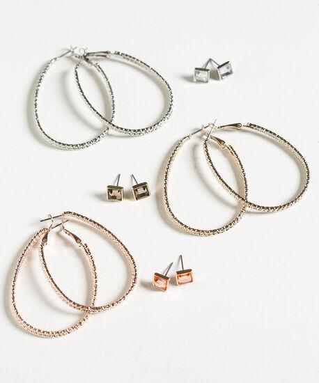 Stud & Hoop Earring Set, Silver/Gold/Rose Gold, hi-res